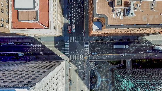 Aerial view between skyscrapers looking straight down at an intersection in the Financial District of San Francisco.