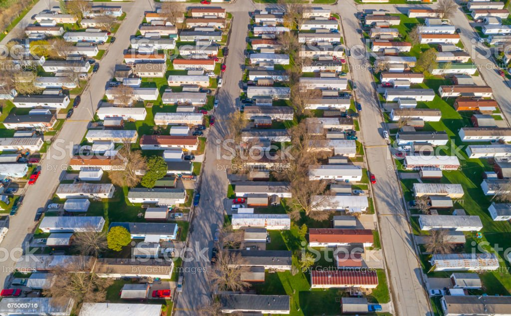 Aerial view looking down on vast trailer park, mobile homes stock photo