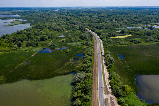 marsh, aerial view, lake water, nature conservation
