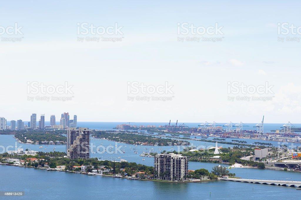 Aerial view Miami Beach stock photo
