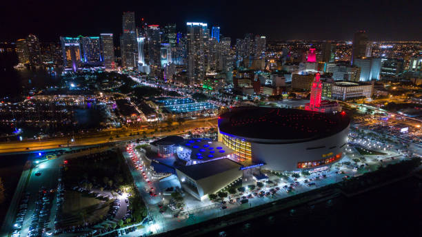 Aerial View Miami Downtown at Night stock photo