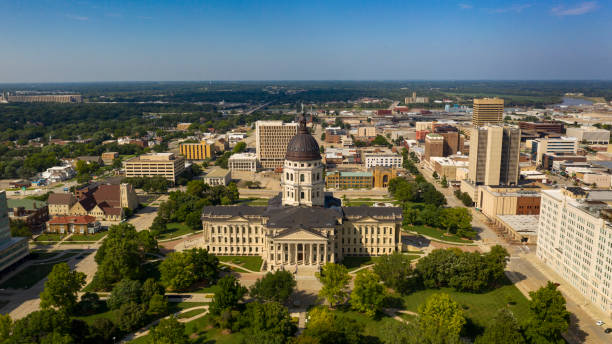 Aerial View Mid Day at the State Capital Building in Topeka Kansas USA stock photo