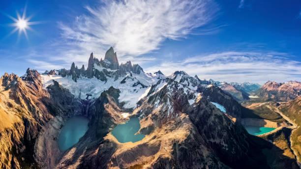 Luftaufnahme Mount Fitz Roy mit Laguna de los Tres, Laguna Sucia und Laguna Capri – Foto