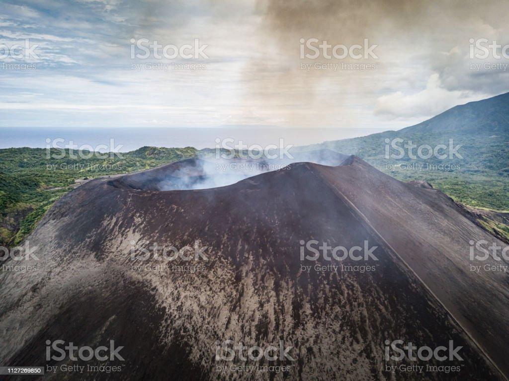 Aerial View Mount Yasur Volcano Tanna Island Vanuatu stock photo