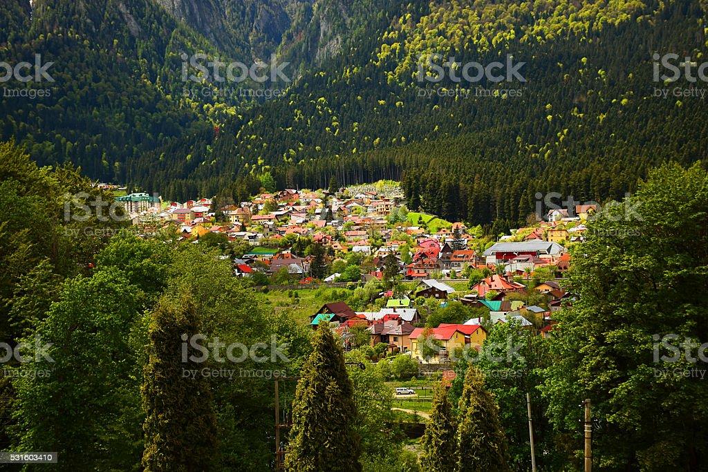 Aerial view mountain cityscape stock photo