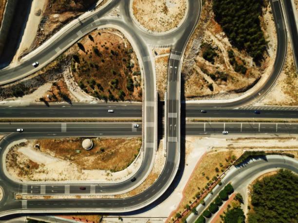 Luftaufnahme, Muğla Universitäts-und Krankenhausstraßenkreuzung, Türkei – Foto