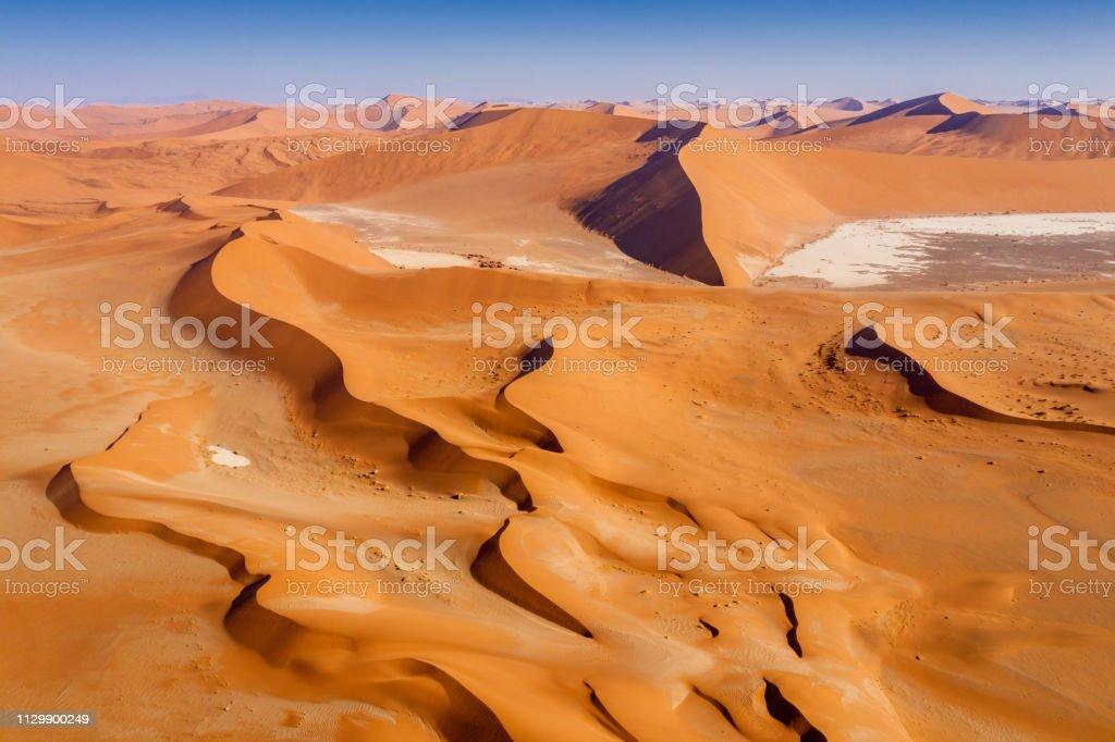 Aerial View Namib Desert Dunes Namib-Naukluft National Park Namibia stock photo