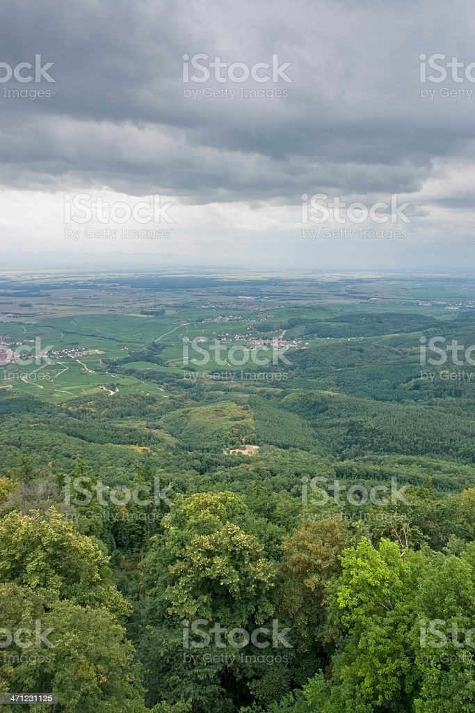 aerial view near Haut-Koenigsbourg Castle in France stock photo