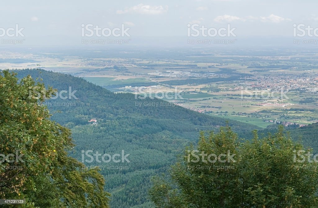 aerial view near Haut-Koenigsbourg Castle stock photo
