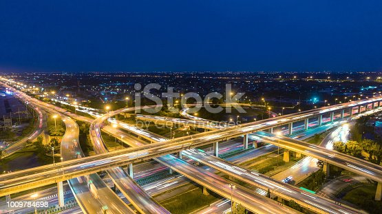 Aerial view network or intersection of highway road for transportation or distribution concept background.