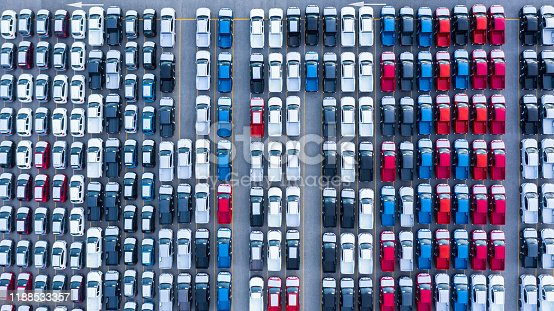 652712094 istock photo Aerial view new cars for sale stock lot row, New  Cars dealer inventory import export business logistic global. 1188533357