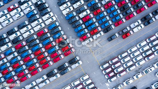 652712094 istock photo Aerial view new cars for sale stock lot row, New  Cars dealer inventory import export business logistic global. 1188533358
