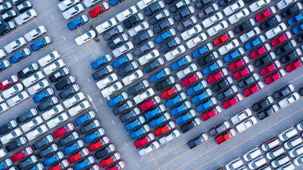 Aerial view new cars for sale stock lot row, New  Cars dealer inventory import export business logistic global. Aerial view new cars for sale stock lot row, New  Cars dealer inventory import export business logistic global. large group of objects stock pictures, royalty-free photos & images