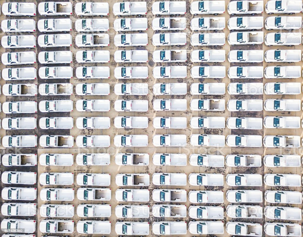 Aerial view new cars in parking lot stock photo