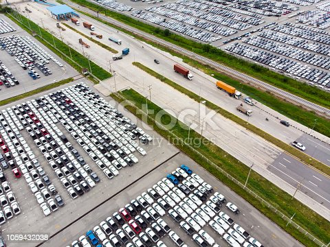 652712094 istock photo Aerial view New Cars produced Several times a year in the port for import export around in the world 1059432038