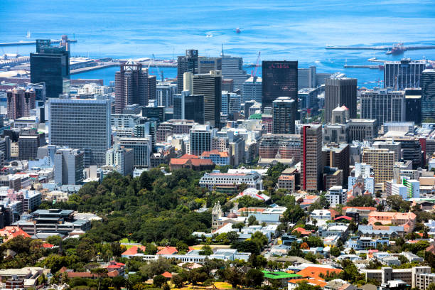 Aerial View o Cape Town Skyline stock photo