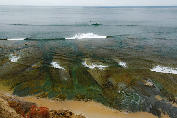 Aerial view ocean tide along the shore. Sunset Cliffs, Point Loma, San Diego, California. stock photo