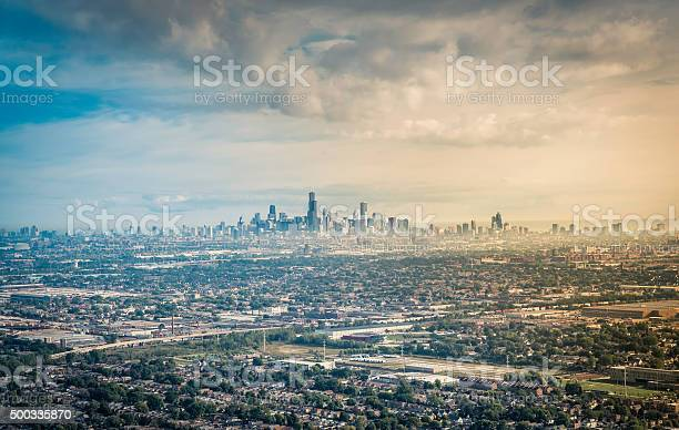 Aerial view od Chicago Downtown