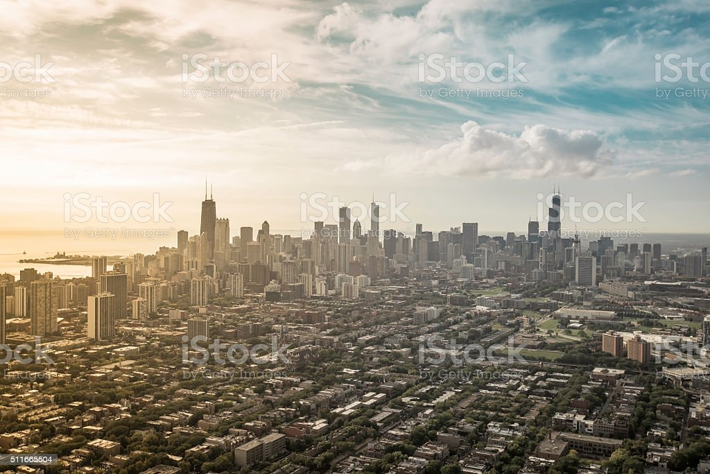 Aerial view od Chicago Downtown stock photo