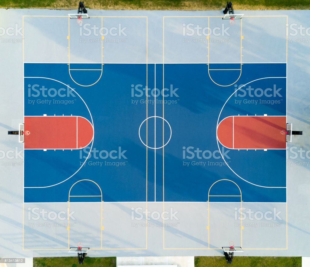 Aerial view of a basketball court stock photo