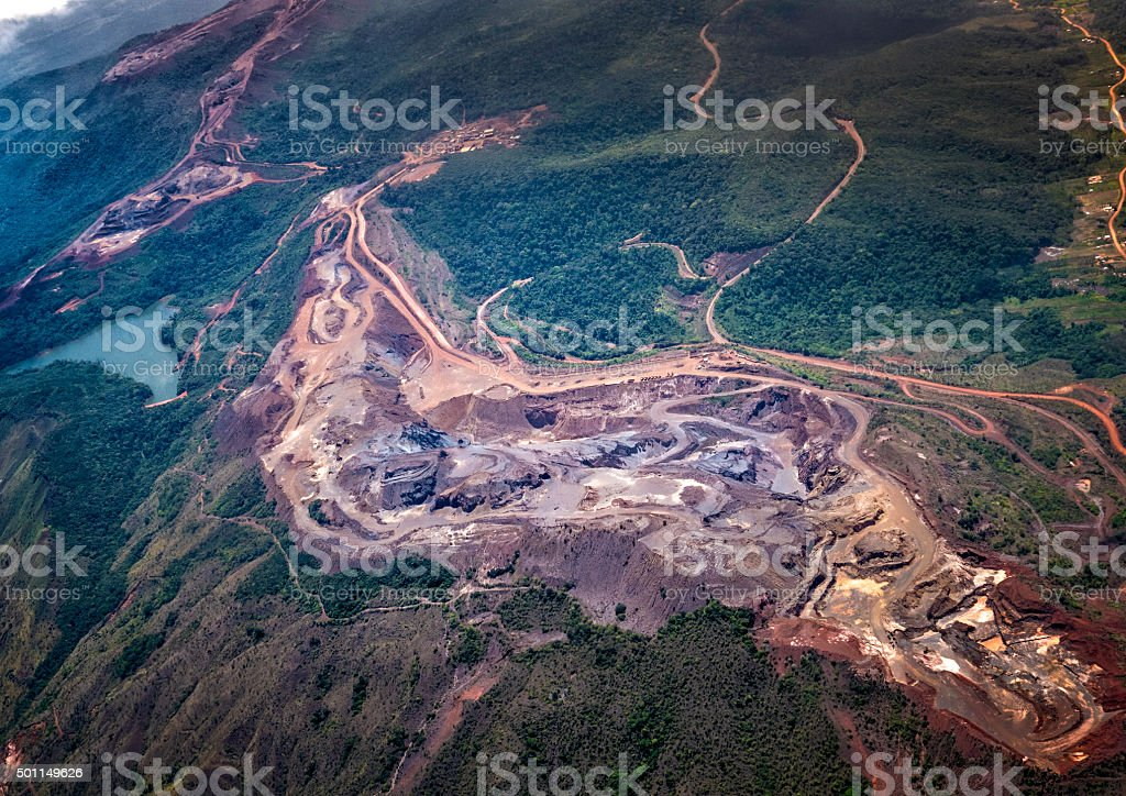 Aerial view of a bauxite mine exploitation and aluminum production stock photo