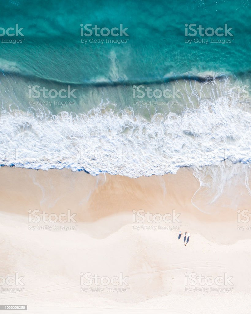 Aerial view of a beach and water. royalty-free stock photo