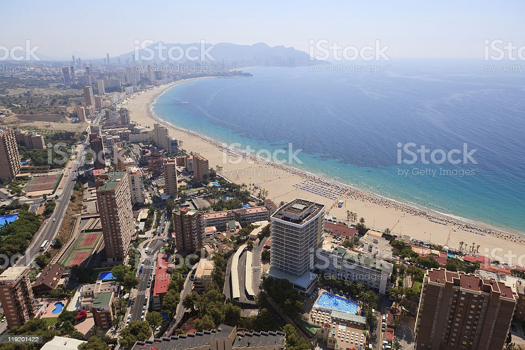Aerial view of a beach at Benidorm Spain stock photo