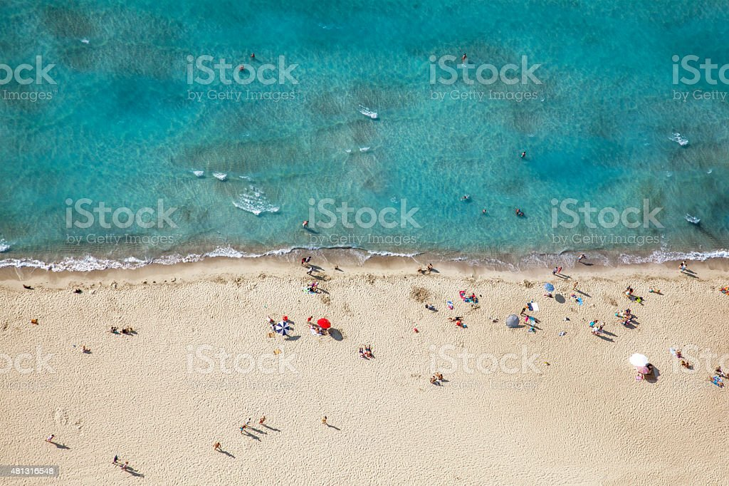 aerial view of a beach from high above royalty-free stock photo
