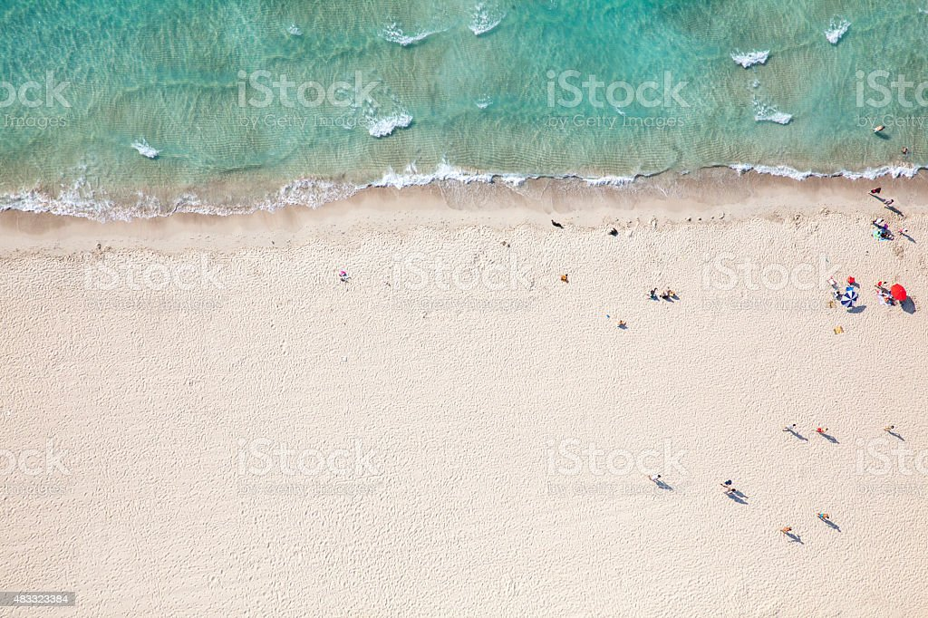 aerial view of a beach from high above stock photo