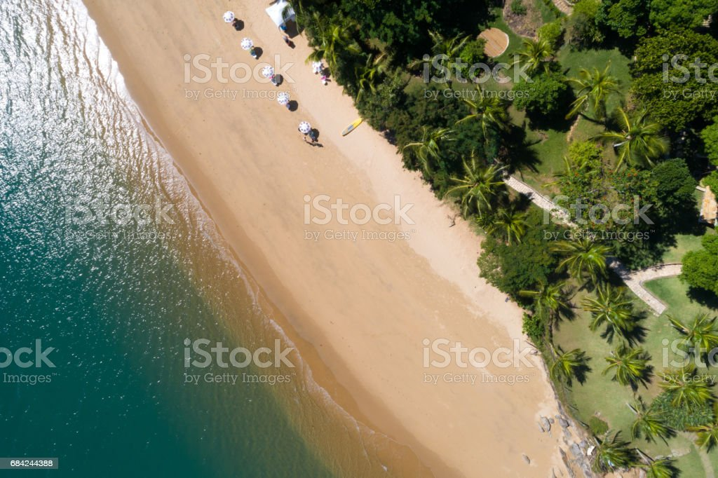 Aerial View of a Beach in Ilhabela, Brazil royalty-free stock photo