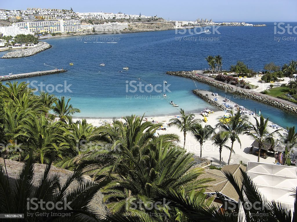 Aerial view of a beach with palms on the Canary Islands royalty-free stock photo