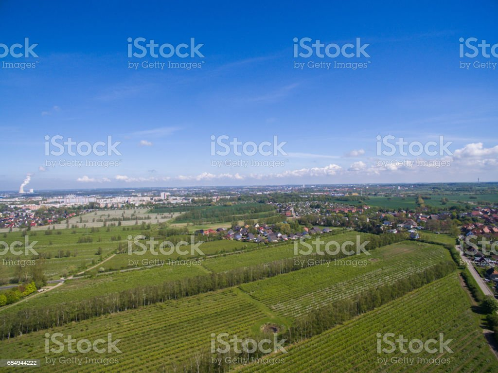 Aerial view of a beautiful agricultural fields under blue sky in spring - germany Lizenzfreies stock-foto