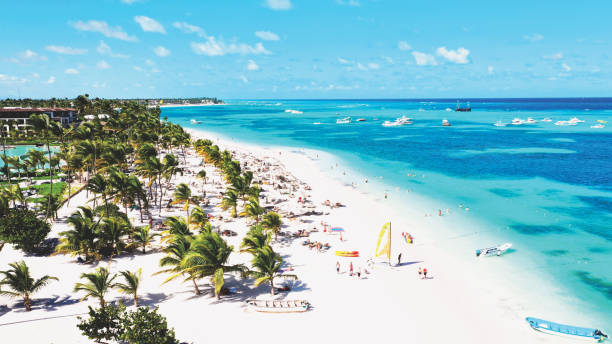 aerial view of a beautiful caribbean beach  in Punta Cana, Dominican Republic stock photo