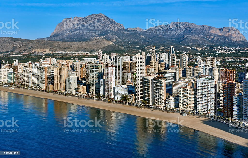 Aerial view of a Benidorm city coastline. Spain stock photo