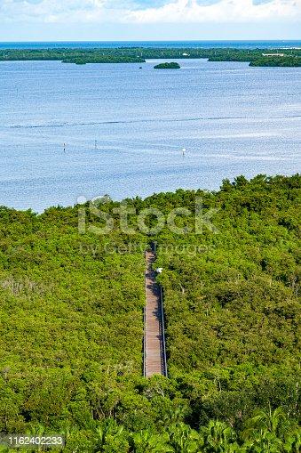 Aerial View of a Boardwalk leading out to the Estero Bay Aquatic Preserve near Bonita Springs Florida