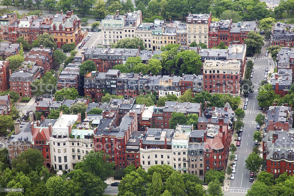 Aerial View of a Boston City Residential District stock photo