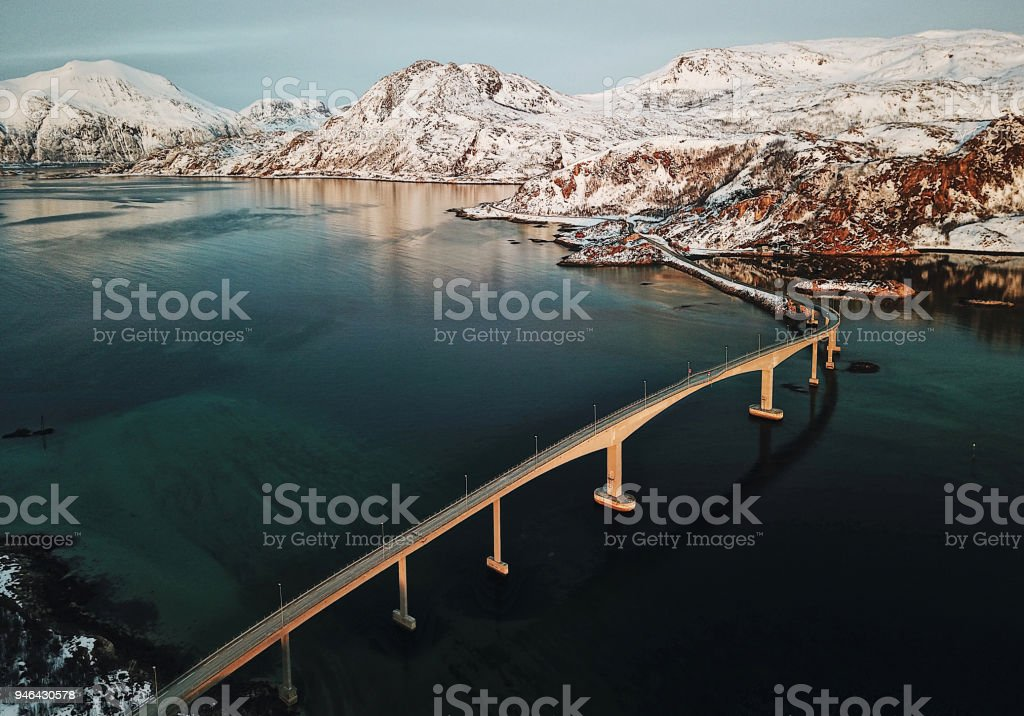 aerial view of a bridge at the lofoten stock photo