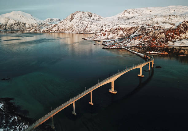 aerial view of a bridge at the lofoten - atlantic ocean stock pictures, royalty-free photos & images