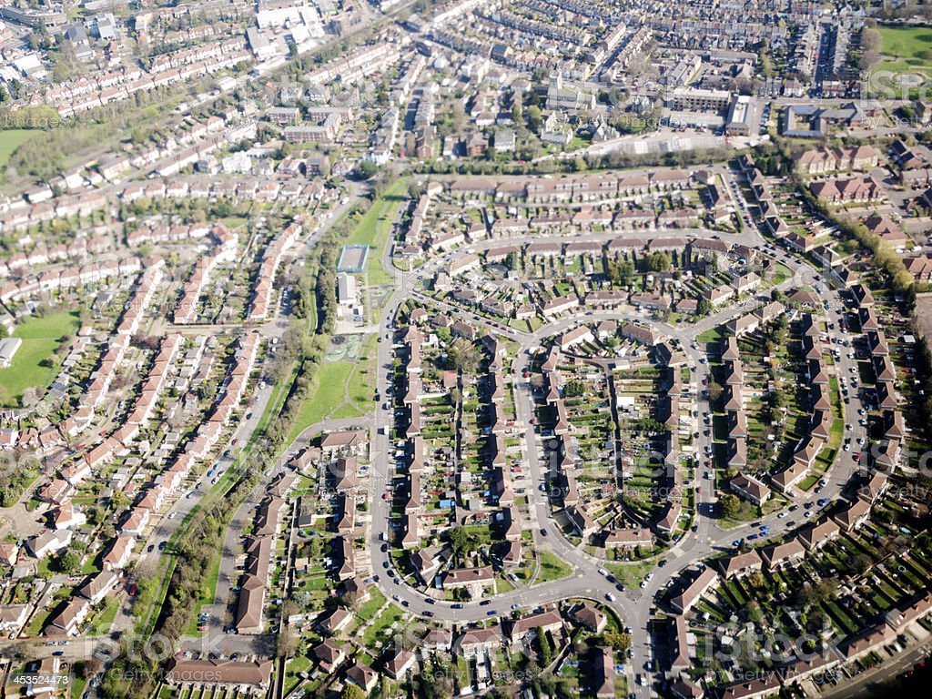 Aerial view of a British residential district stock photo