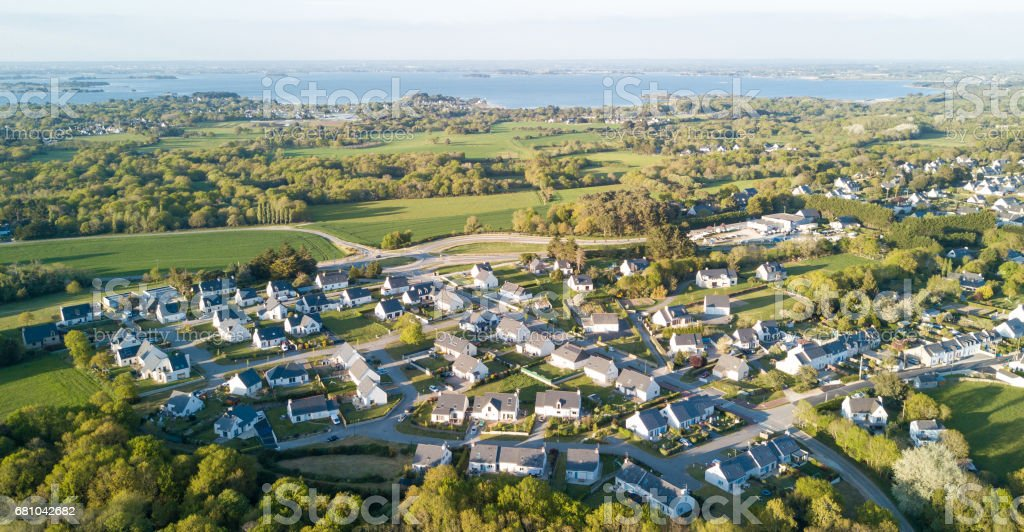 Aerial View Of A Brittany French Village royalty-free stock photo