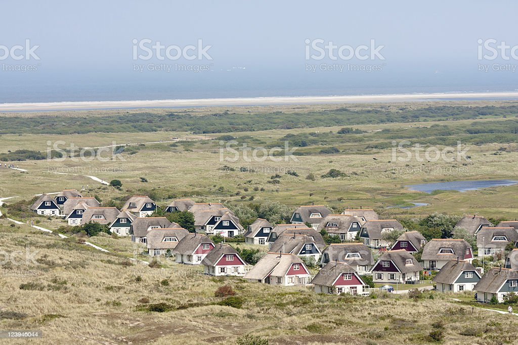 Aerial view of a bungalow park at Ameland, the Netherlands royalty-free stock photo