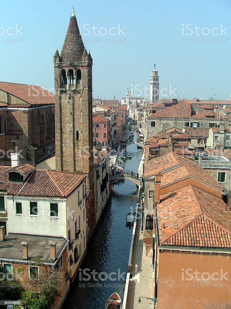 Aerial View of a Canal in Venice royalty-free stock photo