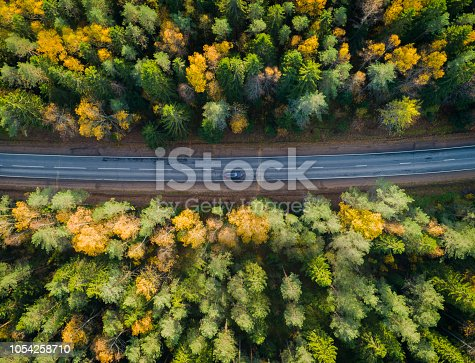 1042711480 istock photo Aerial view of a car on the road. Autumn landscape countryside. 1054258710