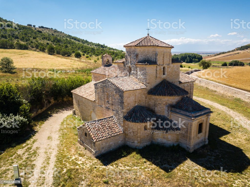 Aerial view of a church in Urueña in Spain stock photo