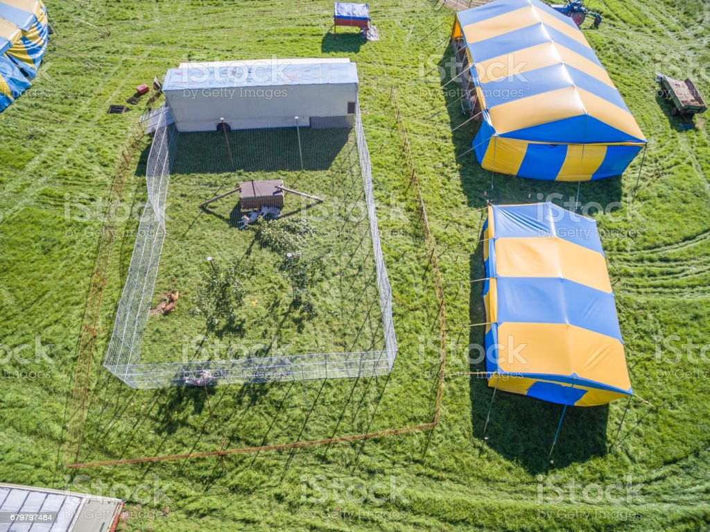 Aerial view of a circus tent and white tigers stock photo