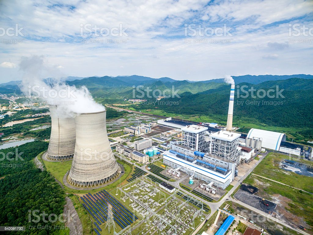 Aerial View of a Coal Fired Power Station stock photo