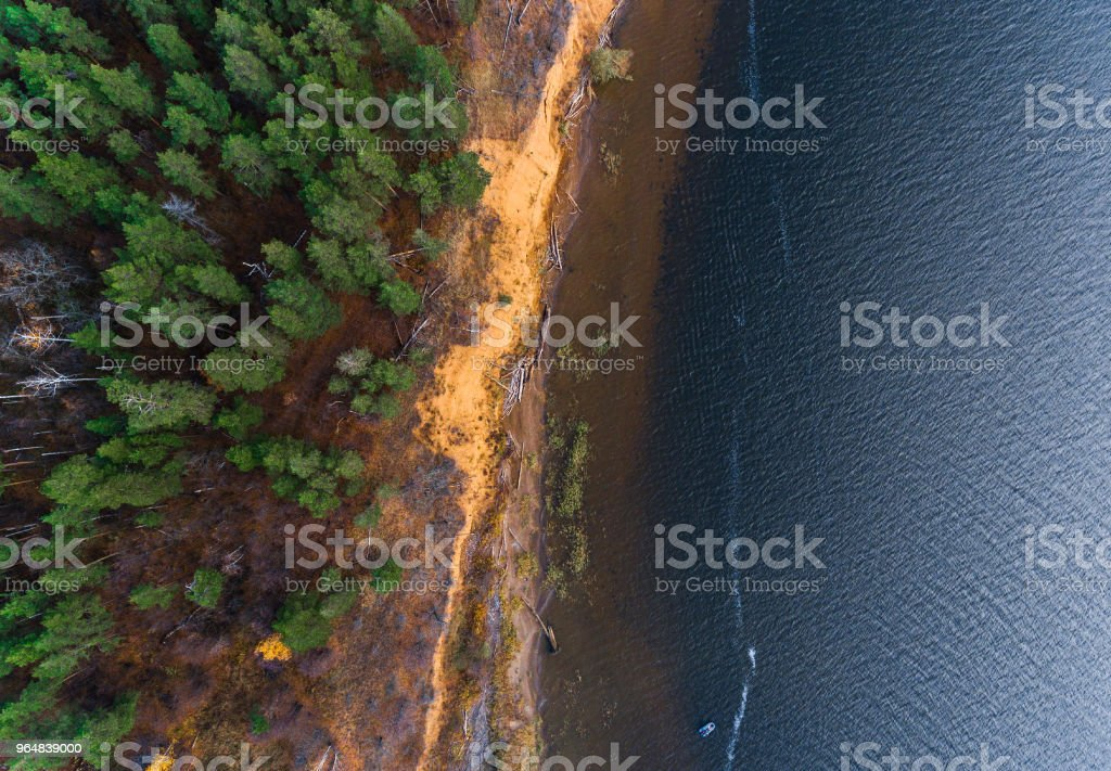 Aerial view of a coast of the river royalty-free stock photo