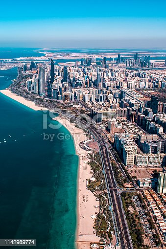 Beach area of Adu Dhabi, United Arab Emirates, photographed high above from a helicopter.