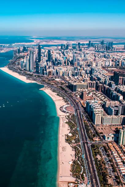 Luftaufnahme eines Küstengebiets von Abu Dhabi – Foto