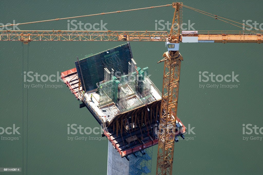Aerial View of a Construction Crane royalty-free stock photo